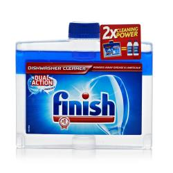 Picture of a plastic container of Finish dishwasher cleaner